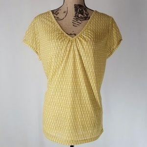 NY & Co   Goldenrod Print V-Neck Blouse (XL)